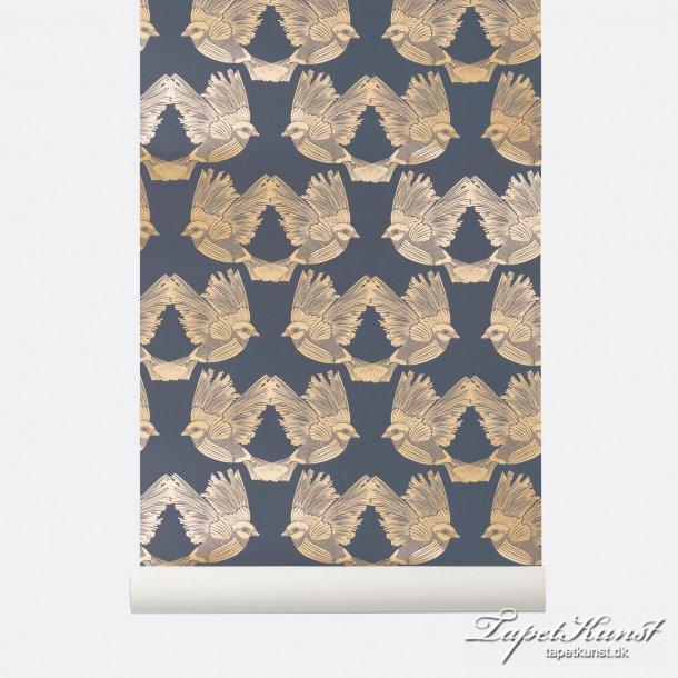 Birds - Deep Blue / Gold